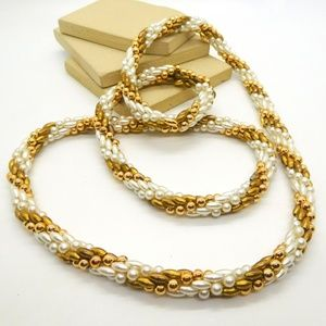 Vintage White Faux Pearl Gold Tone Woven Necklace